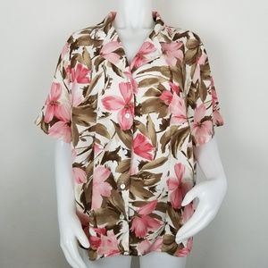 Alfred Dunner Size 20W Button Down Floral Blouse